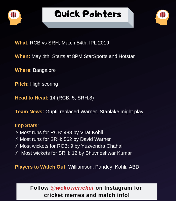 RCB vs SRH 2019 Dream11 Team And Predictions