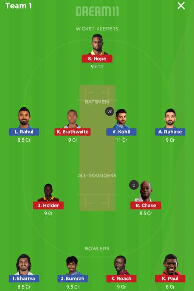 Ind vs WI 2nd test 2019 dream11 team