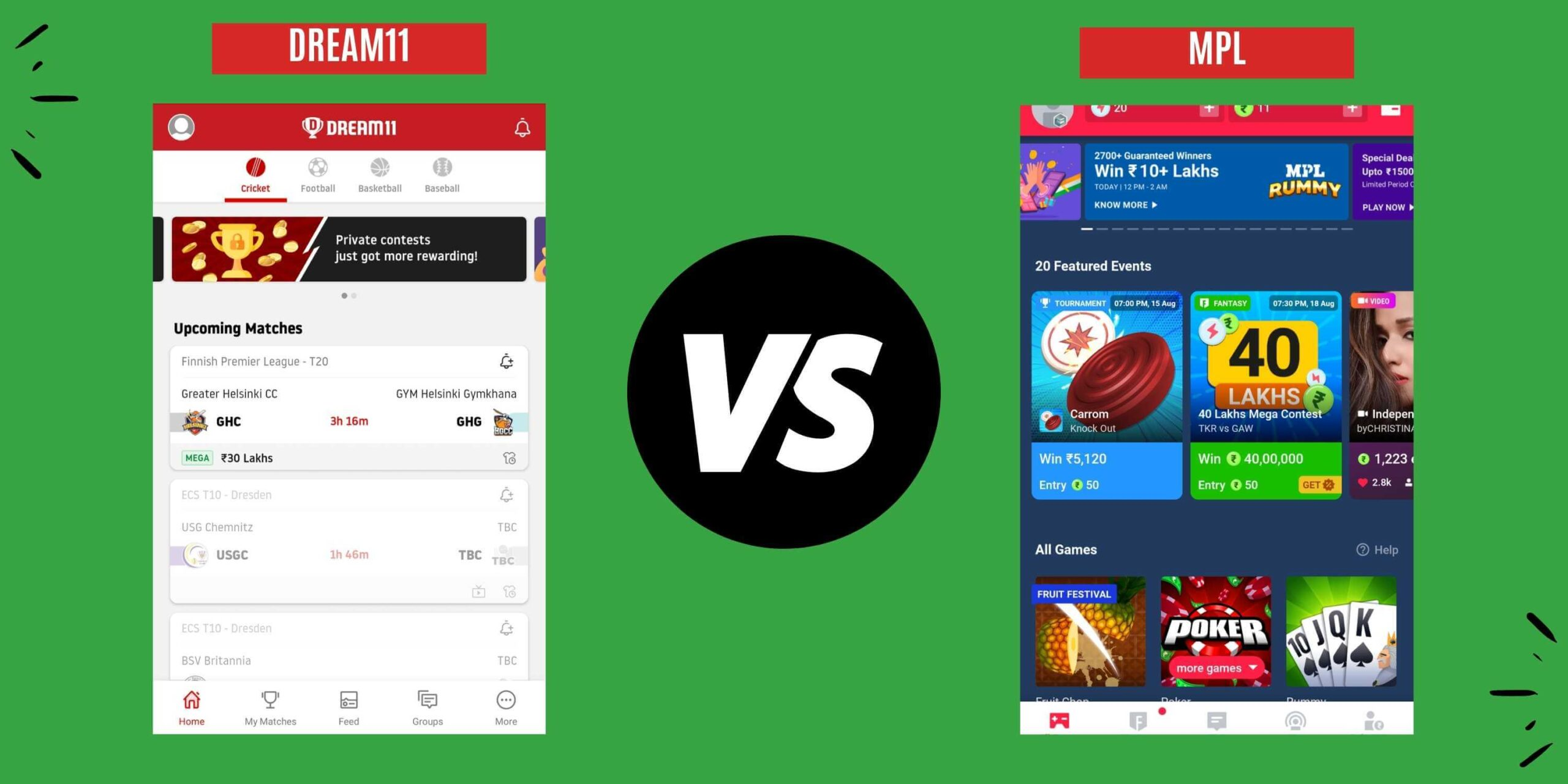 Dream11 vs MPL App Interface